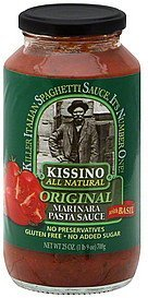 pasta sauce marinara, original, with basil Kissino Nutrition info
