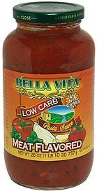 pasta sauce meat flavored Bella Vita Nutrition info
