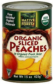 peaches organic, sliced Native Forest Nutrition info