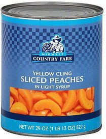 peaches sliced, yellow cling Midwest Country Fare Nutrition info