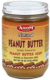 peanut butter natural, unsalted Adom Foods Nutrition info