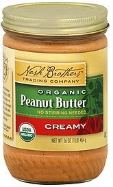 peanut butter organic, creamy Nash Brothers Trading Company Nutrition info
