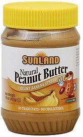 peanut butter spread natural, creamy banana Sunland Nutrition info
