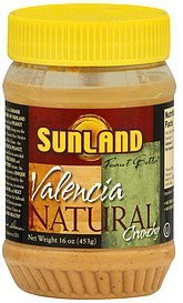 peanut butter valencia, natural, crunchy Sunland Nutrition info