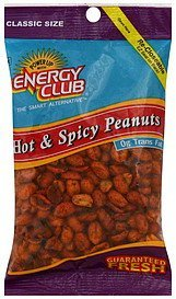 peanuts hot & spicy, classic size Energy club Nutrition info