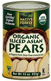 pears organic, sliced, asian Native Forest Nutrition info