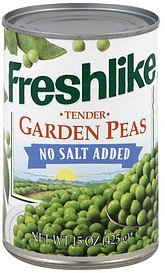 peas tender garden, no salt added Freshlike Nutrition info