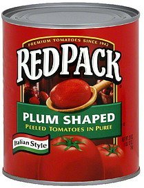 peeled tomatoes in puree plum shaped, italian style Red Pack Nutrition info