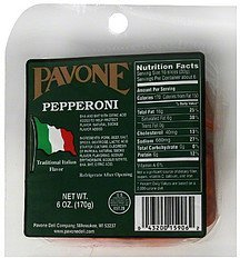 pepperoni Pavone Nutrition info