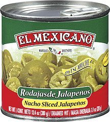peppers nacho sliced jalapeno El Mexicano Nutrition info