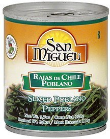 peppers sliced poblano San Miguel Nutrition info