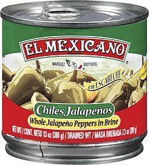 peppers whole jalapeno El Mexicano Nutrition info