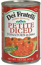 petite diced tomatoes in juice Dei Fratelli Nutrition info