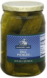 pickles dill, whole Midwest Country Fare Nutrition info