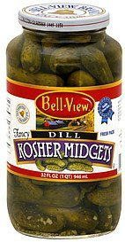 pickles kosher midgets, dill Bell View Nutrition info