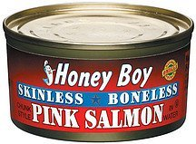 pink salmon skinless boneless Honey Boy Nutrition info
