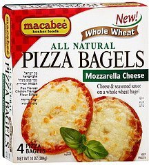 pizza bagels all natural, mozzarella cheese Macabee Kosher Foods Nutrition info