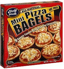 pizza bagels mini Health is Wealth Nutrition info