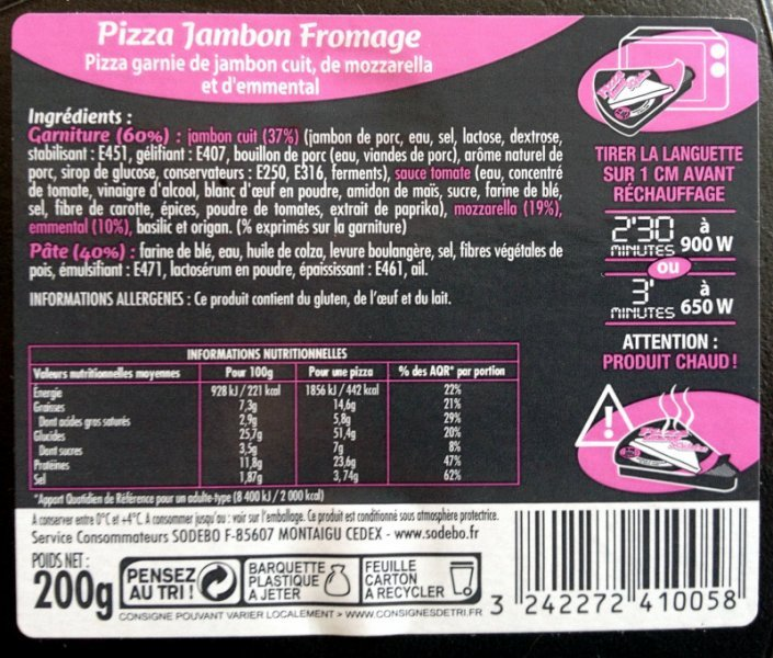 pizza jambon fromage Sodebo Nutrition info