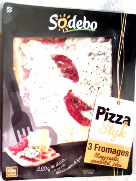 pizza style 3 fromages Sodebo Nutrition info