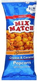 popcorn gourmet, cheese & caramel Mix Match Nutrition info