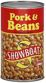 pork & beans in tomato sauce Showboat Nutrition info