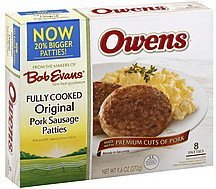 pork sausage patties fully cooked original Owens Nutrition info