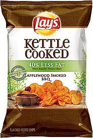 potato chips kettle cooked 40% less fat applewood smoked bbq Lays Nutrition info