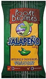 potato chips kettle cooked, jalapeno flavor Poore Brothers  Nutrition info