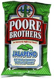 potato chips kettle cooked, jalapeno Poore Brothers  Nutrition info
