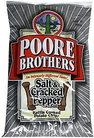 potato chips kettle cooked, salt & cracked pepper Poore Brothers  Nutrition info