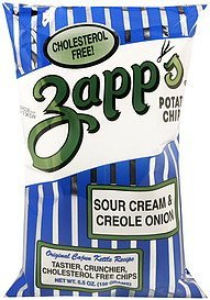 potato chips sour cream & creole onion Zapps Nutrition info