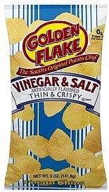 potato chips thin & crispy, vinegar & salt Golden Flake Nutrition info
