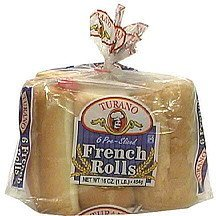 pre-sliced french rolls Turano Nutrition info