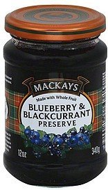 preserve blueberry and blackcurrant Mackays Nutrition info