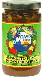 preserves amaretto peach pecan Oasis Foods Nutrition info