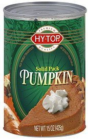 pumpkin solid pack Hy Tops Nutrition info