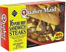 pure beef sandwich steaks Quaker Maid Nutrition info