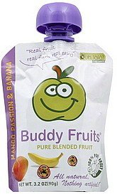 pure blended fruit mango passion & banana Buddy Fruits Nutrition info