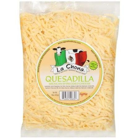quesadilla mexican shredded cheese La Chona Nutrition info