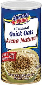 quick oats all natural Special Value Nutrition info