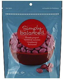 raisins greek yogurt covered, raspberry flavored Simply Balanced Nutrition info