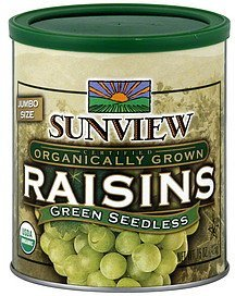 raisins green seedless, jumbo size Sunview Nutrition info
