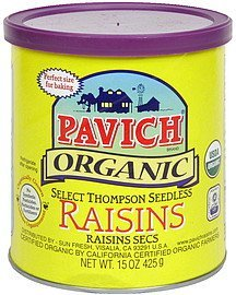 raisins organic, seedless Pavich Nutrition info