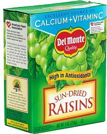 raisins, sun-dried Del Monte Nutrition info