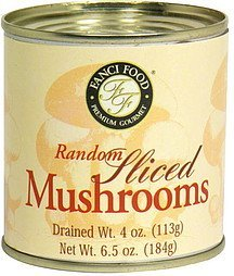 random sliced mushrooms Fanci Food Nutrition info