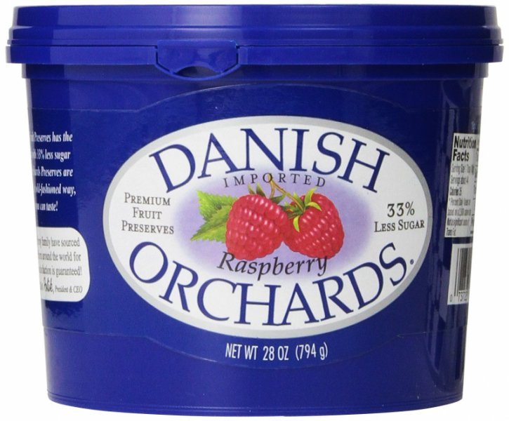 raspberry preserves Danish Orchards Nutrition info