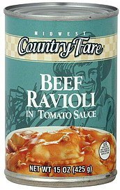 ravioli beef, in tomato sauce Midwest Country Fare Nutrition info