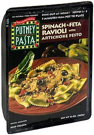 ravioli spinach and feta with artichoke pesto sauce Putney Pasta Nutrition info