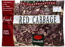 red cabbage Verdelli Nutrition info